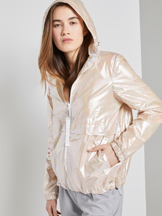 Holografischer Windbreaker mit Kapuze - Frauen - metalic pearl - 5 - TOM TAILOR Denim