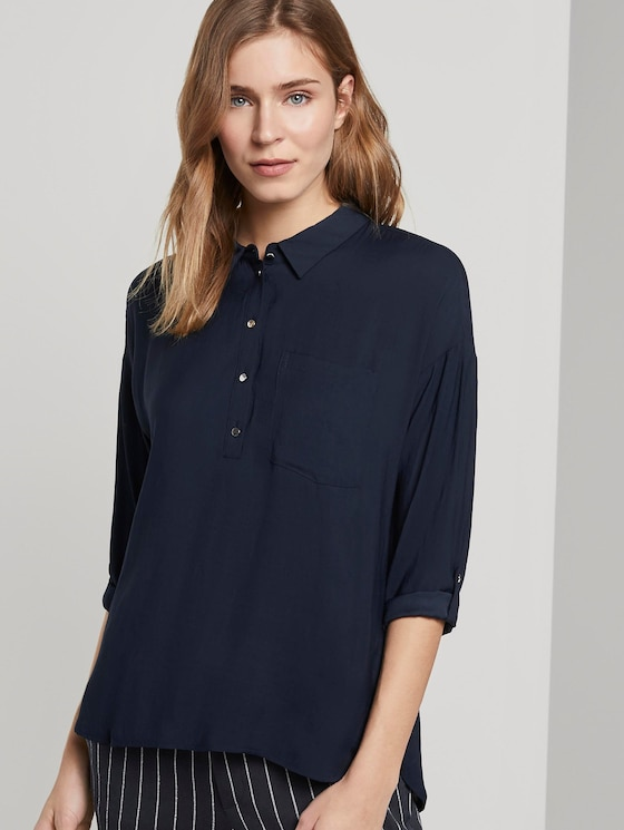 Fließendes Oversized-Hemd - Frauen - Real Navy Blue - 5 - TOM TAILOR Denim