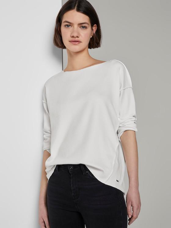 Geripptes Oversized Shirt - Frauen - Off White - 5 - TOM TAILOR Denim