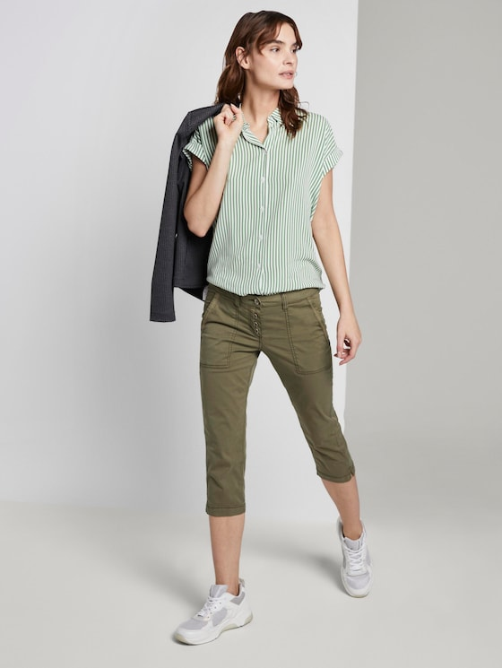 Geknöpfte Tapered Relaxed Hose - Frauen - Deep Fresh Olive - 3 - TOM TAILOR
