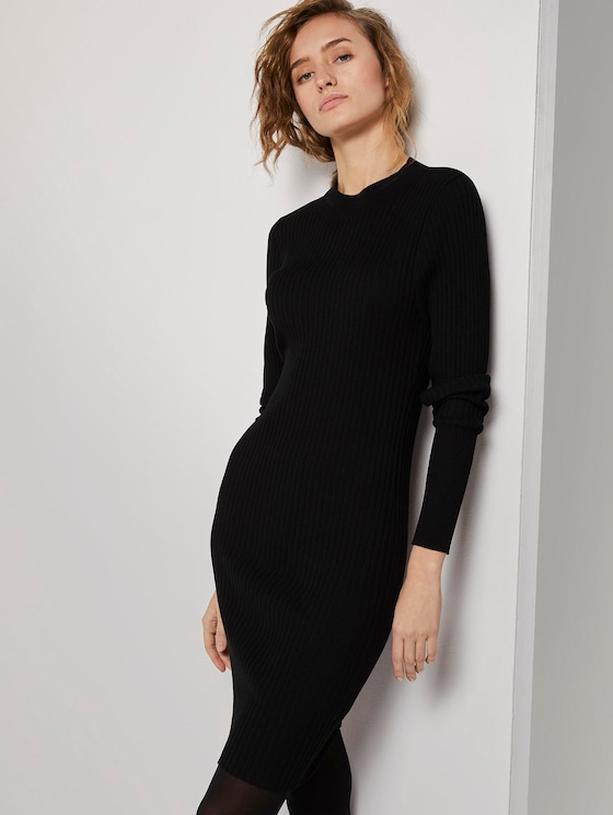 Mini dress in a ribbed look - Women - Deep Black - 5 - TOM TAILOR Denim