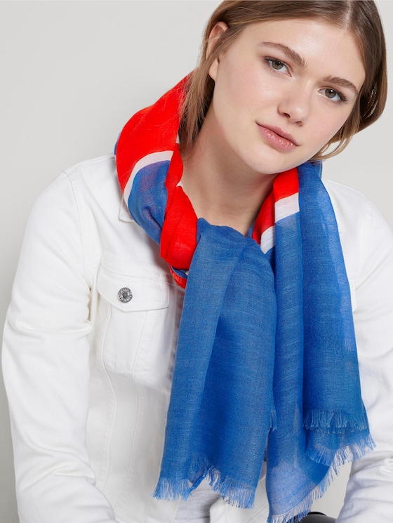 Long striped chambray scarf - Women - blue red stripe mix - 5 - TOM TAILOR Denim