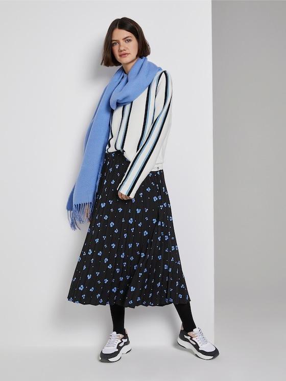 Midi Faltenrock mit Blumenprint - Frauen - black blue flower print - 3 - TOM TAILOR Denim