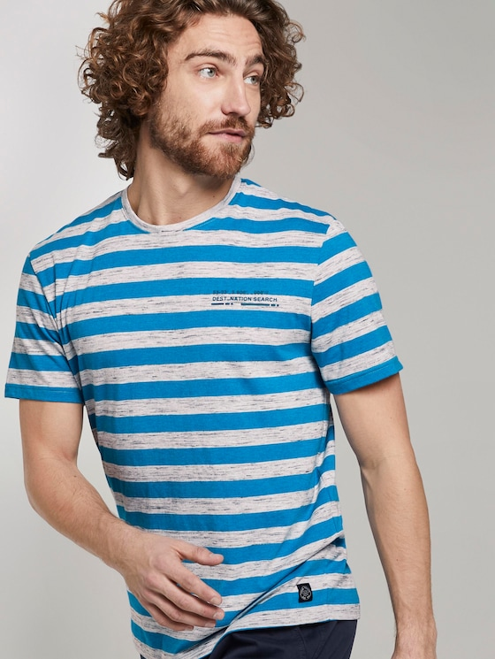 Striped T-shirt - Men - offwhite inject midblue stripe - 5 - TOM TAILOR