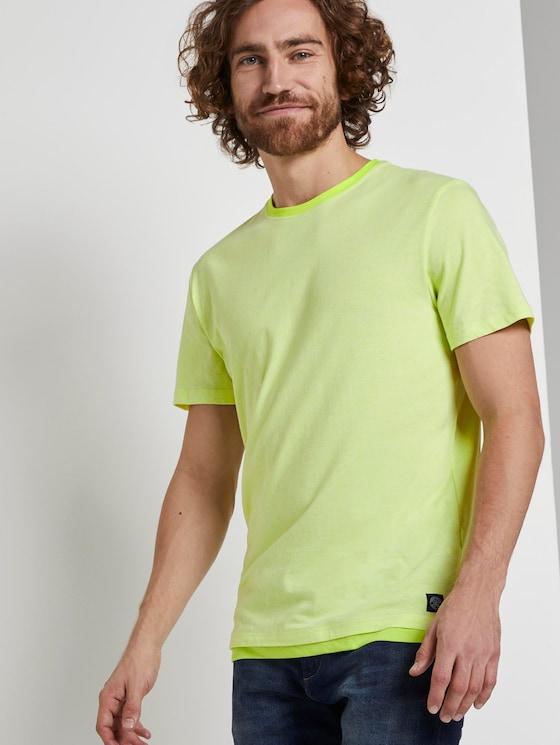 T-Shirt mit Underlayer - Männer - neon yellow grindle look - 5 - TOM TAILOR