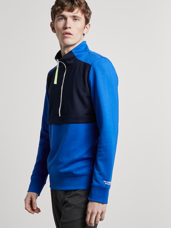 Half-Zip Sweatshirt - Männer - bright king blue - 5 - TOM TAILOR Denim