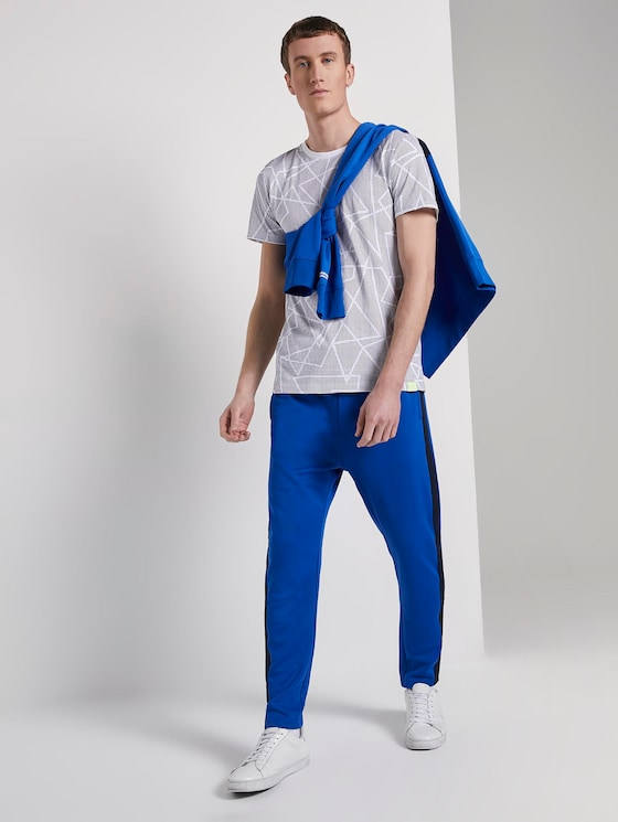 Jogging bottoms with tape - Men - bright king blue - 3 - TOM TAILOR Denim