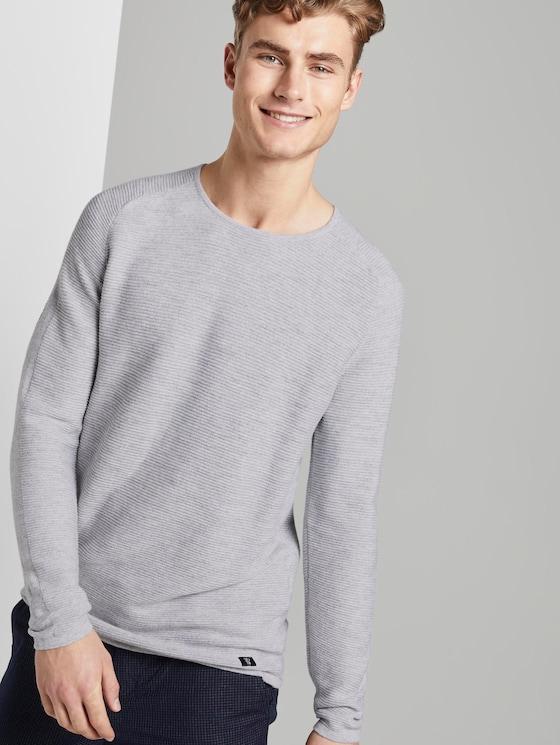 structured knit jumper - Men - light grey shadow melange - 5 - TOM TAILOR Denim