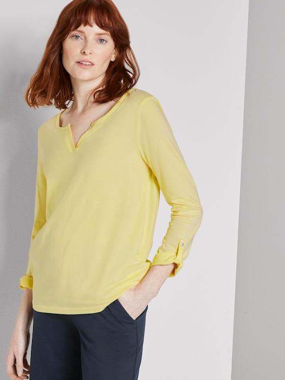7/8 Arm Shirt mit Henley-Ausschnitt - Frauen - jasmine yellow - 5 - TOM TAILOR
