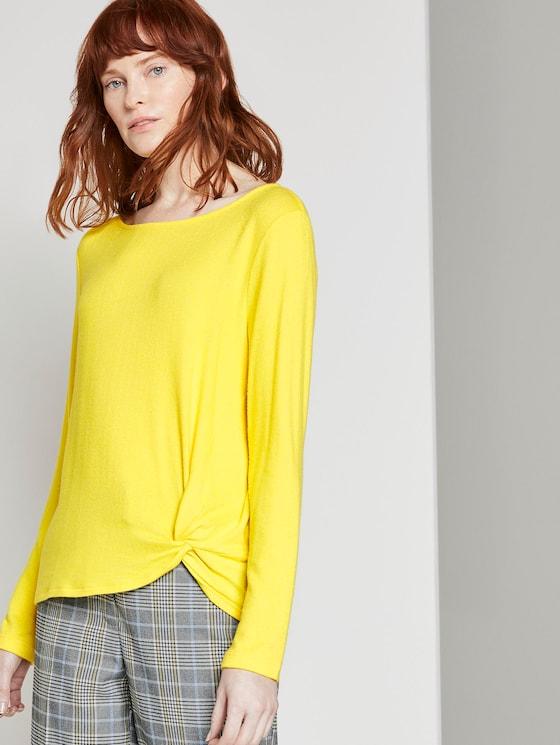 Meliertes Langarmshirt mit Knoten-Detail - Frauen - jasmine yellow melange - 5 - TOM TAILOR