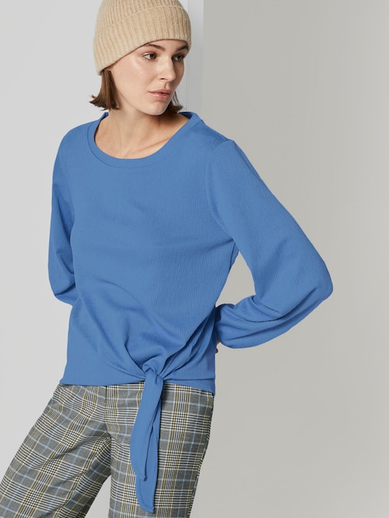 Long-sleeved shirt in a crinkle look with knot details - Women - sea blue - 5 - TOM TAILOR