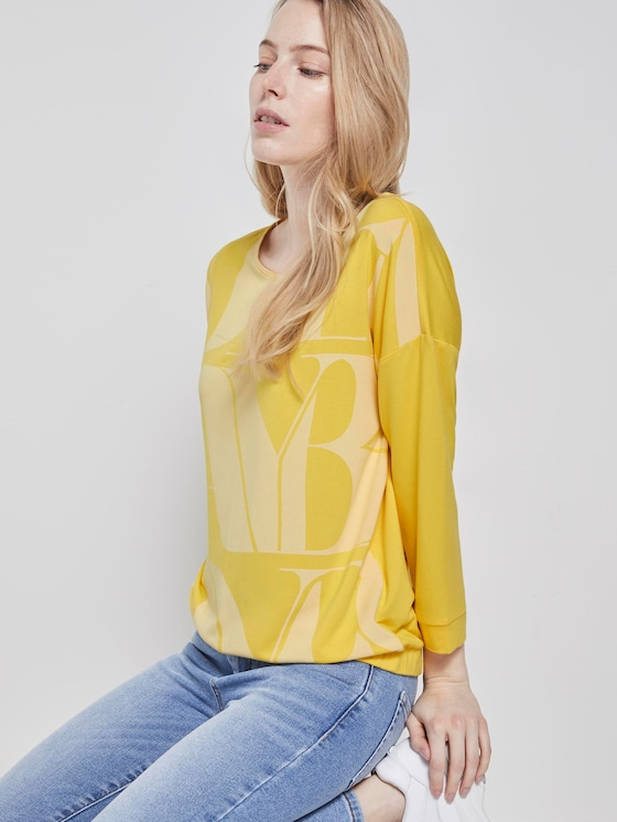 3/4 Arm Shirt mit Schriftzug-Print und Fledermausärmeln - Frauen - jasmine yellow - 5 - TOM TAILOR