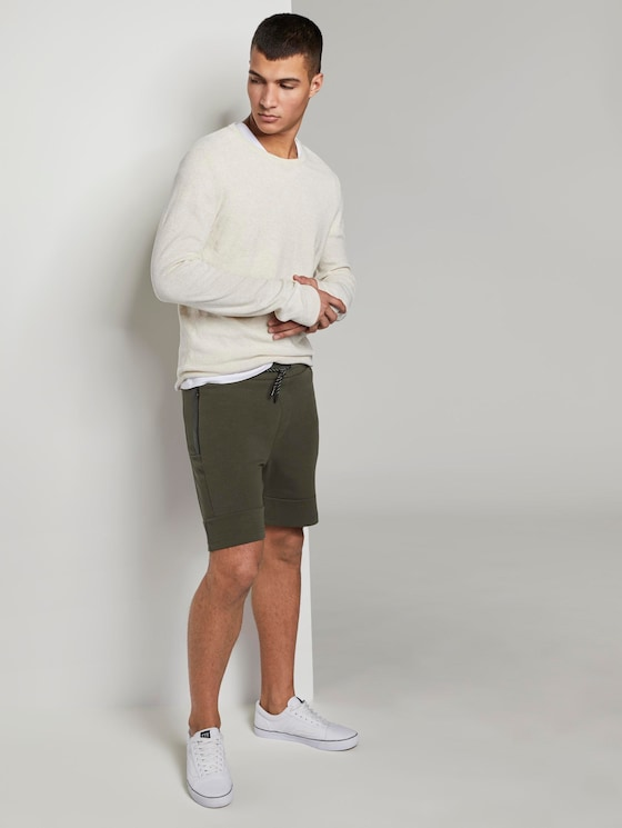 Sweatshorts mit Kordelbund - Männer - Woodland Green - 3 - TOM TAILOR Denim