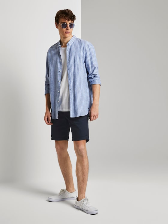 Strukturierte Chinoshorts mit Kordelzug - Männer - Sky Captain Blue - 3 - TOM TAILOR Denim