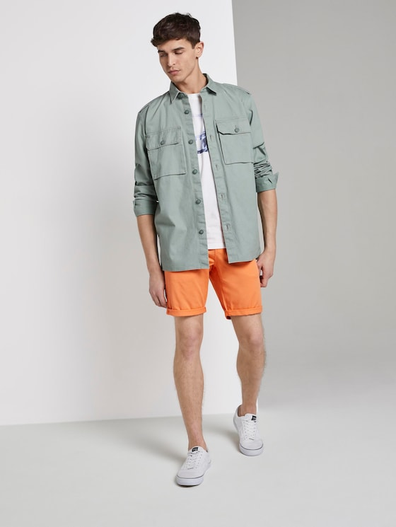 Slim Chino Shorts - Männer - tijuana orange neon - 3 - TOM TAILOR Denim