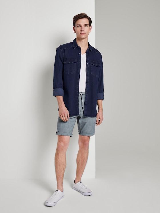 Chino Shorts - Männer - navy crossed lines yarn dye - 3 - TOM TAILOR Denim