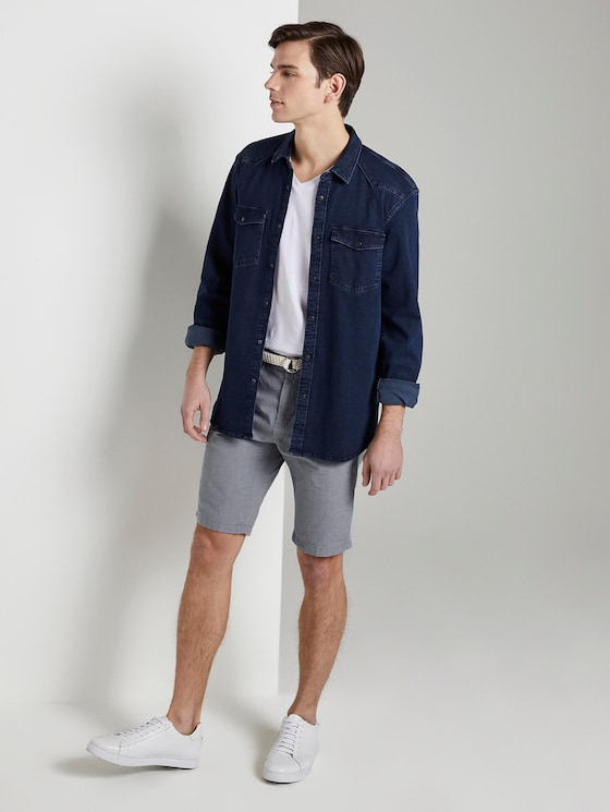 Chino Shorts mit Gürtel - Männer - medium grey yarn dye stripe - 3 - TOM TAILOR Denim