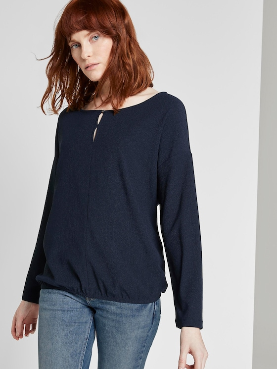 Long-sleeved top with cut-out details - Women - Sky Captain Blue - 5 - TOM TAILOR