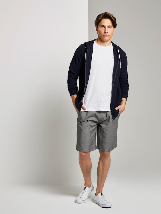 Strukturierte Shorts im Jogger-Fit - Männer - somber grey dot yarn dye - 3 - TOM TAILOR Denim