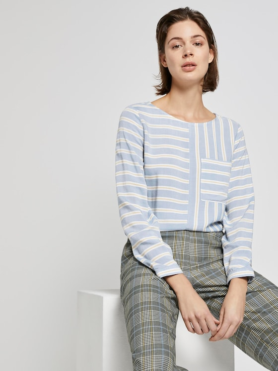 Striped blouse with a chest pocket - Women - blue yellow stripe - 5 - TOM TAILOR