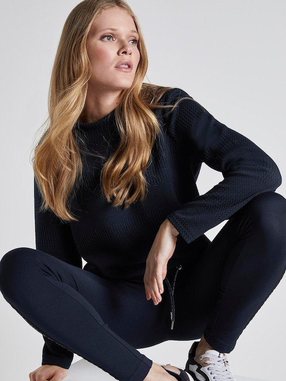 Textured sweatshirt with an elastic waistband - Women - Sky Captain Blue - 5 - TOM TAILOR