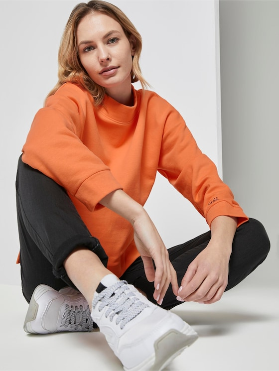 Sweatshirt mit Stehkragen - Frauen - fruity melon orange - 5 - TOM TAILOR