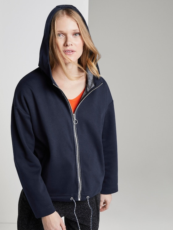 Sweatjacke mit Kordelzug - Frauen - Sky Captain Blue - 5 - TOM TAILOR