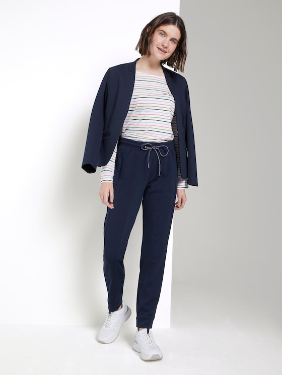 Sporty trousers in ankle-length - Women - Sky Captain Blue - 3 - TOM TAILOR