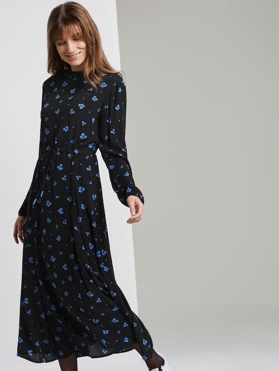 Midi-dress with flower-print - Women - black blue flower print - 5 - TOM TAILOR Denim