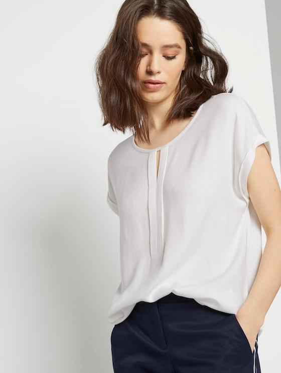 T-Shirt aus Chiffon - Frauen - Whisper White - 5 - TOM TAILOR