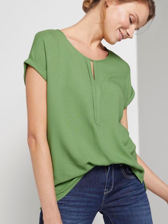 T-Shirt aus Chiffon - Frauen - sundried turf green - 5 - TOM TAILOR