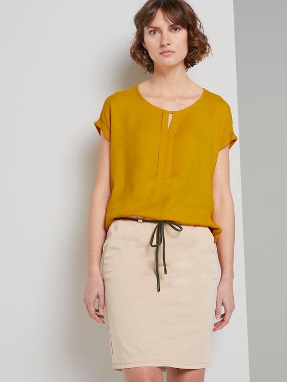 T-Shirt aus Chiffon - Frauen - deep golden yellow - 5 - TOM TAILOR
