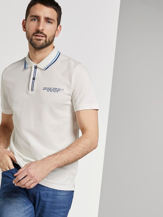 Sportliches Polo-Shirt mit Print - Männer - Off White - 5 - TOM TAILOR