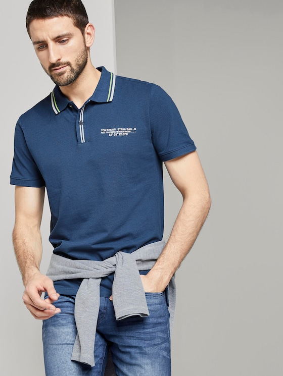 Sporty polo shirt with a print - Men - after dark blue - 5 - TOM TAILOR