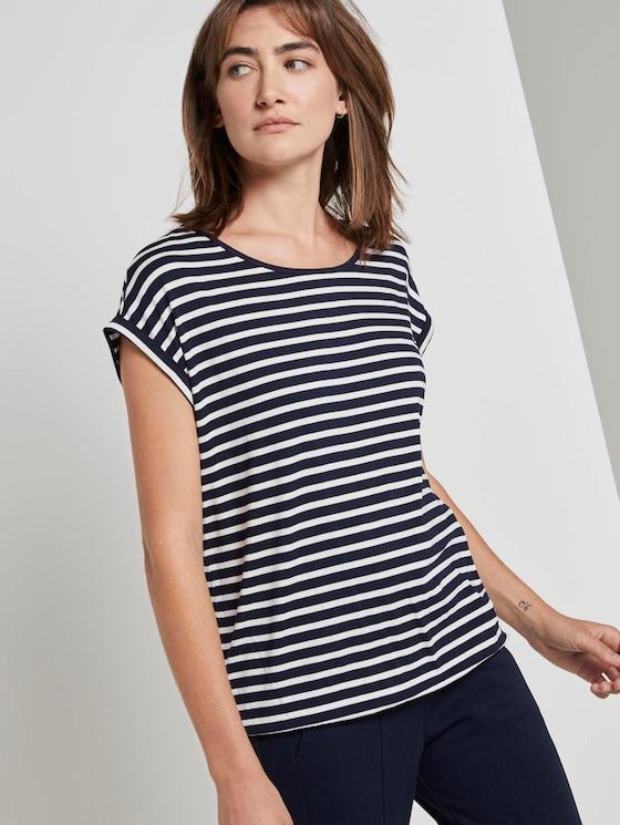 Gemustertes T-Shirt mit elastischem Bund - Frauen - navy stripe - 5 - TOM TAILOR