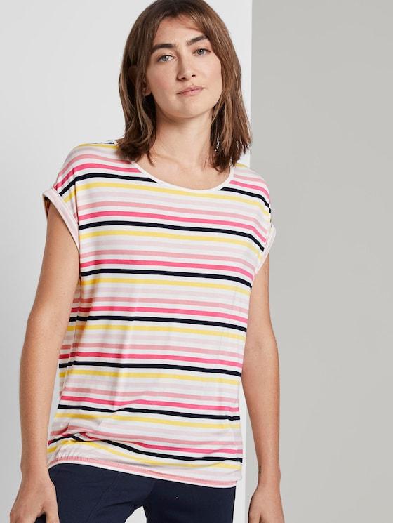 T-shirt met print en elastische tailleband - Vrouwen - offwhite multicolor stripe - 5 - TOM TAILOR