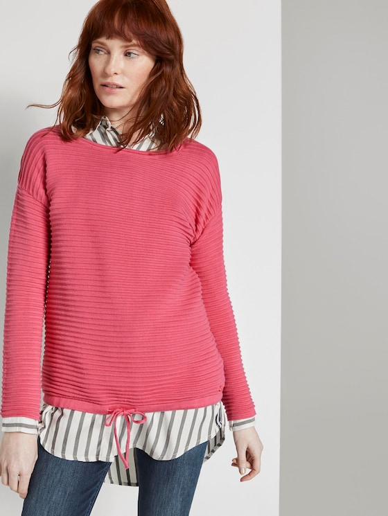 Strukturierter Pullover - Frauen - charming pink - 5 - TOM TAILOR
