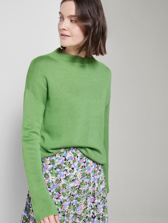 Sweater mit Stehkragen - Frauen - sundried turf green - 5 - TOM TAILOR