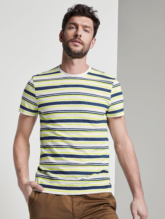 Striped jersey T-shirt - Men - white yellow blue stripe - 5 - TOM TAILOR