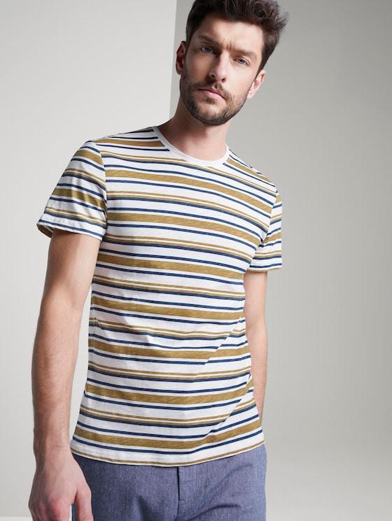 Gestreiftes Jersey T-Shirt - Männer - beige white blue stripe - 5 - TOM TAILOR