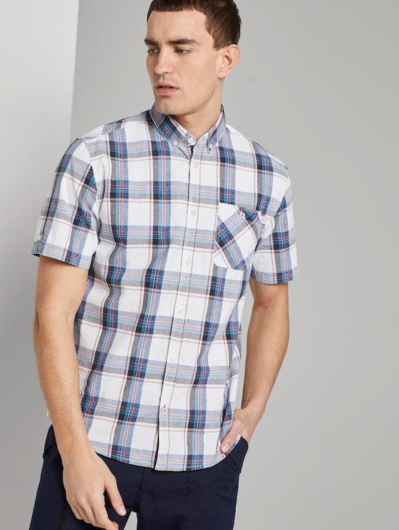 Checked short-sleeved shirt - Men - white base navy washed check - 5 - TOM TAILOR