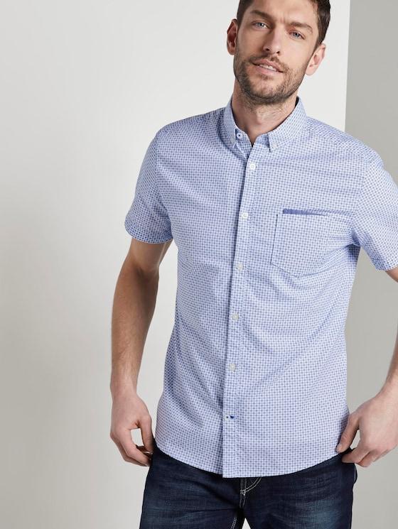 Gemustertes Kurzarm-Hemd mit Brusttasche - Männer - white by navy blue dot design - 5 - TOM TAILOR