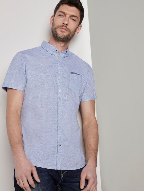 Overhemd met korte mouwen en borstzak - Mannen - blue irregular striped design - 5 - TOM TAILOR
