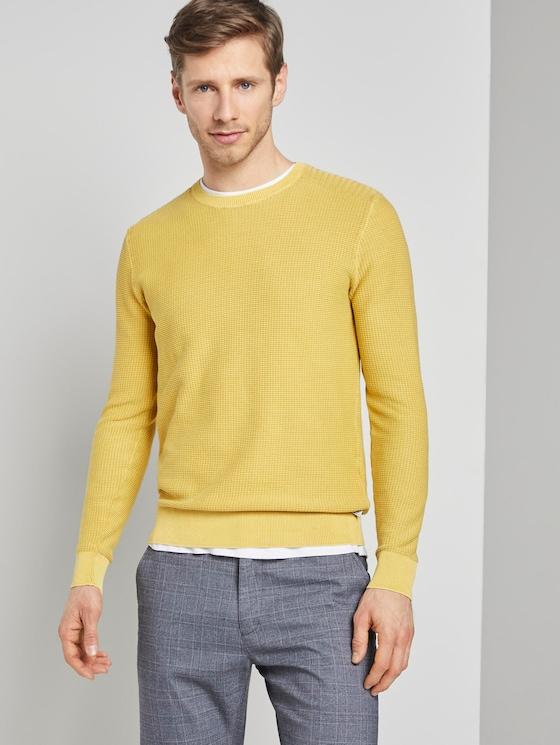 Strukturierter Sweater im Washed-Look - Männer - Californian Yellow - 5 - TOM TAILOR