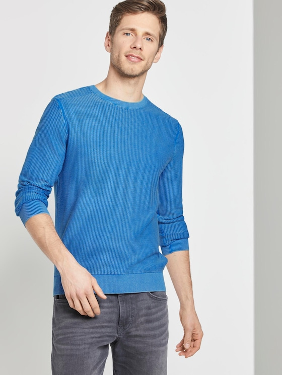 Strukturierter Sweater im Washed-Look - Männer - victory blue - 5 - TOM TAILOR