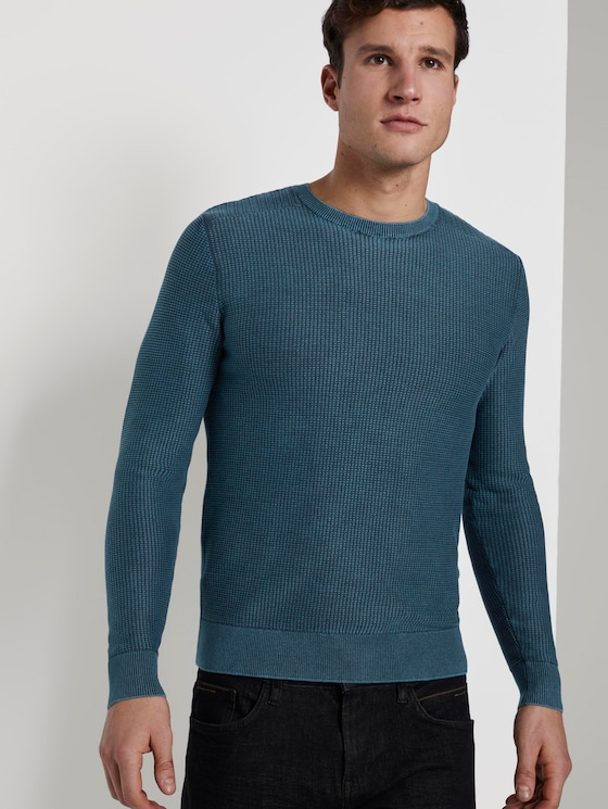 Strukturierter Sweater im Washed-Look - Männer - deep pond green - 5 - TOM TAILOR