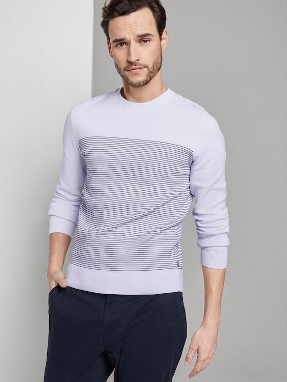 Sweater im Struktur-Mix - Männer - white navy stripe - 5 - TOM TAILOR