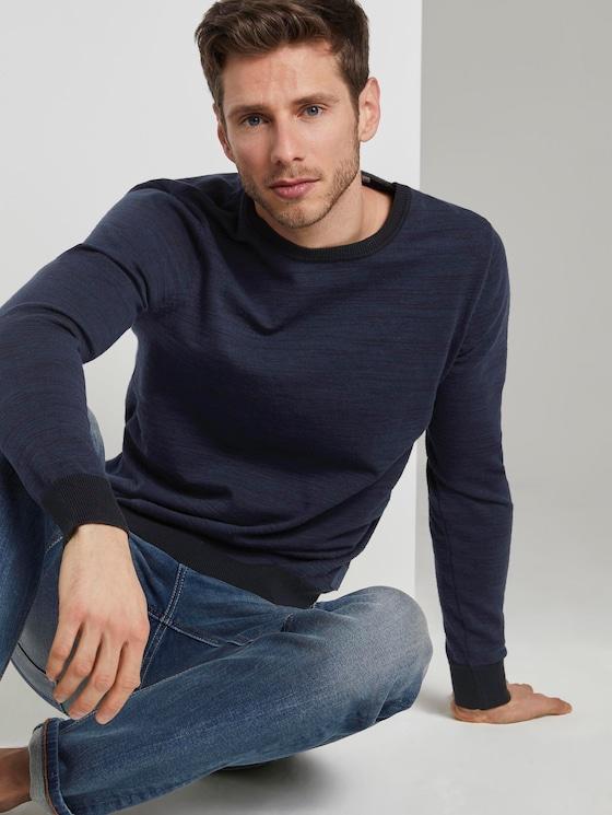 Mottled knitted sweater - Men - navy black mouline - 5 - TOM TAILOR