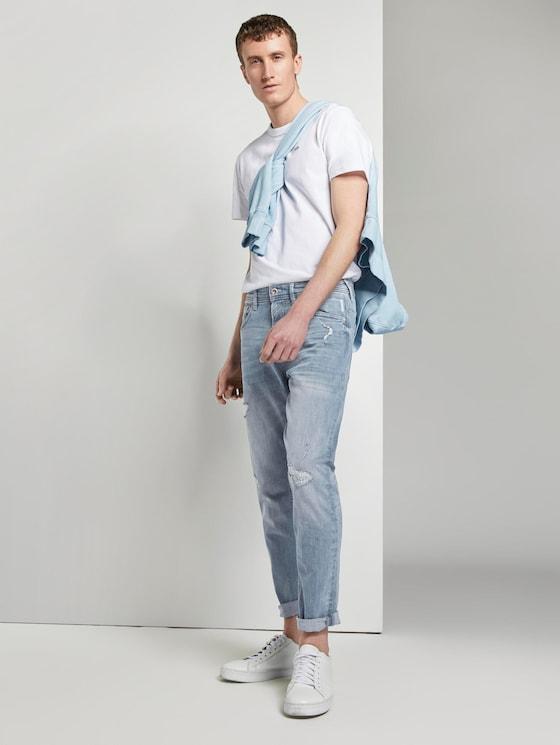Tapered Conroy Stretch Jeans mit Destroys - Männer - light stone blue grey denim - 3 - TOM TAILOR Denim