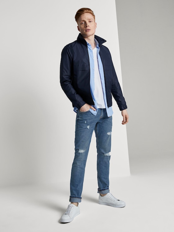 Aedan straight jeans with a key chain - Men - mid stone wash denim - 3 - TOM TAILOR Denim